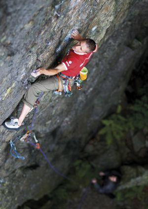 Climbing 2013:Poster_Steve McClure on Hell's Wall (E6 6c), Bowderstone Crag, Lake District